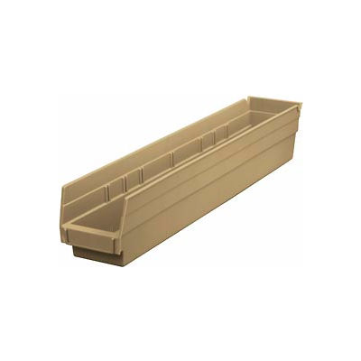 "Global Industrial™ Plastic Nesting Storage Shelf Bin 4-1/8""W x 23-5/8""D x 4""H Beige - Pkg Qty 12"