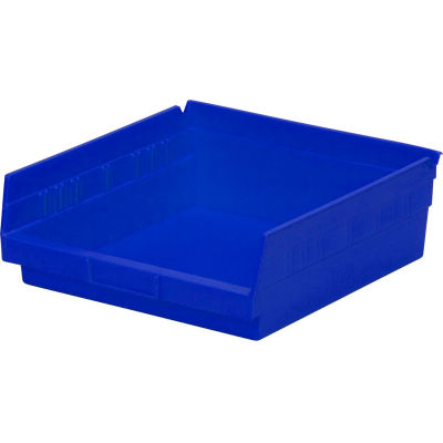 "Global Industrial™ Plastic Nesting Storage Shelf Bin 11-1/8""W x 11-5/8""D x 4""H Blue - Pkg Qty 12"