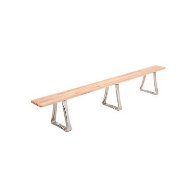 Global Industrial™ Locker Bench Hardwood Top w/SS Trapezoid Pedestal, Bolt Down 120x9-1/2x17