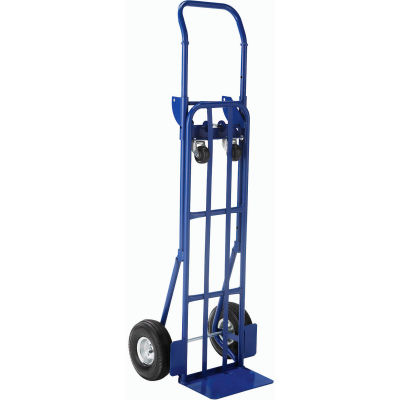 Global Industrial™ Steel 2-in-1 Convertible Hand Truck - Pneumatic Wheels - 600 Lb. Capacity