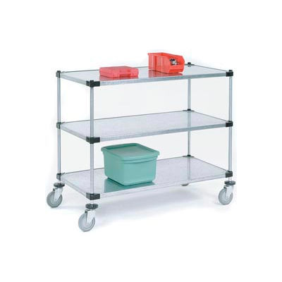 Nexel® Adjustable Solid Galvanized Shelf Cart 48x18 2 Shelves 800 Lb. Cap