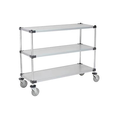 Nexel® Adjustable Solid Galvanized Shelf Cart 48x18 3 Shelves 800 Lb. Cap
