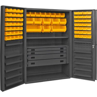 Durham Heavy Duty Work Bin Cabinet DCBDLP724RDR Deep Pocket Door - 4 Drawers 72 Yellow Bins 48x24x78