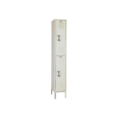 Lyon Locker PP5222SU Double Tier 12x18x36 1-Wide Recessed Handle Assembled Putty