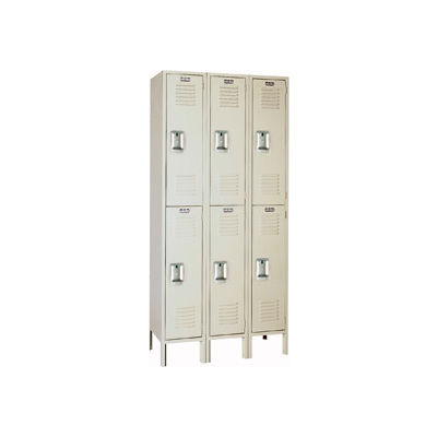Lyon Locker PP52223SU Double Tier 12x18x36 3-Wide Recessed Handle Assembled Putty