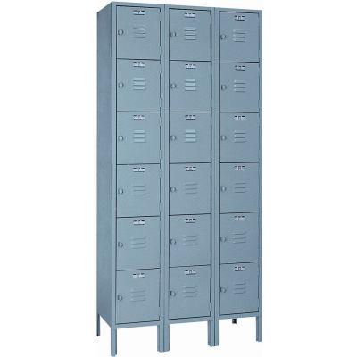 Lyon Locker DD53623SU Six Tier 12x18x12 3-Wide Hasp Handle Assembled Gray