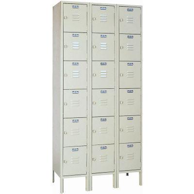 "Lyon Six Tier 18 Door Steel Locker With Hasp Handle, 12""Wx18""Dx12""H, Putty, Assembled"
