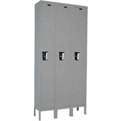 Hallowell UY3228-1 Maintenance-Free Quiet Locker Single Tier 12x12x72 3 Door Ready To Assemble Gray