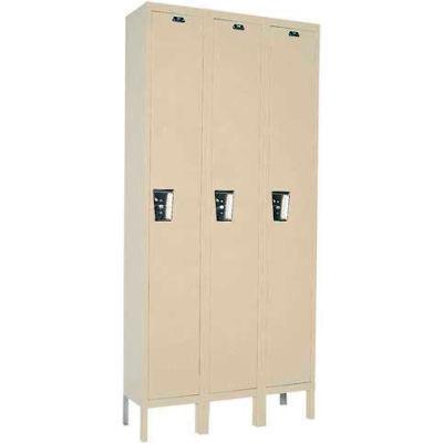 Hallowell UY3228-1 Maintenance-Free Quiet Locker Single 12x12x72 - 3 Door Ready To Assemble - Tan