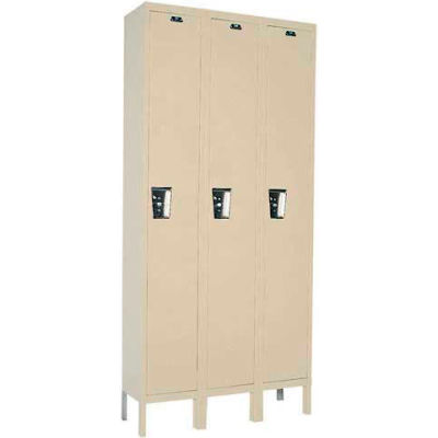 Hallowell UY3888-1 Maintenance-Free Quiet Locker Single 18x18x72 - 3 Door Ready To Assemble - Tan