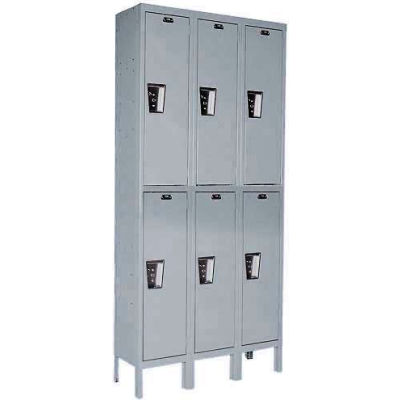 Hallowell UY3228-2 Maintenance-Free Quiet Locker Double Tier 12x12x36 6 Door Ready To Assemble Gray