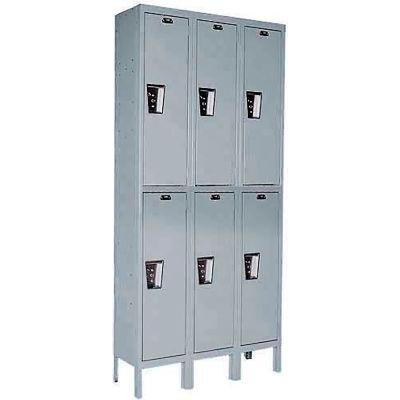 """Hallowell Double Tier 6 Door Maintenance-Free Quiet Steel Locker, 12""""Wx12""""Dx36""""H,Drk Gry,Unassembled"""