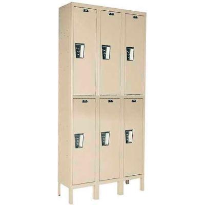 Hallowell UY3258-2 Maintenance-Free Quiet Locker Double 12x15x36 - 6 Door Ready To Assemble - Tan