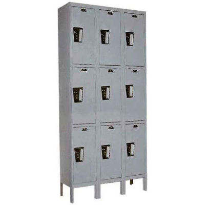 Hallowell UY3258-3 Maintenance-Free Quiet Locker Triple Tier 12x15x24 9 Door Ready To Assemble Gray