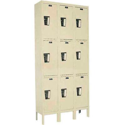 Hallowell UY3258-3 Maintenance-Free Quiet Locker Triple 12x15x24 - 9 Door Ready To Assemble - Tan