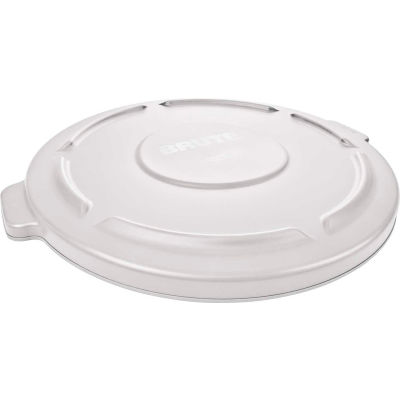 Rubbermaid® Flat Lid For 20 Gallon Brute Round Trash Container, White - 2619-60