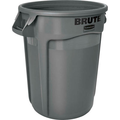 Rubbermaid Brute® 2632 Trash Container w/Venting Channels, 32 Gallon - Gray