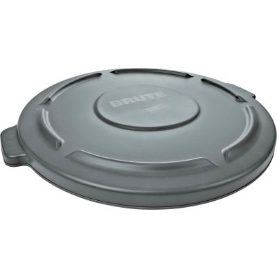 Flat Lid For 44 Gallon Round Trash Container - Gray