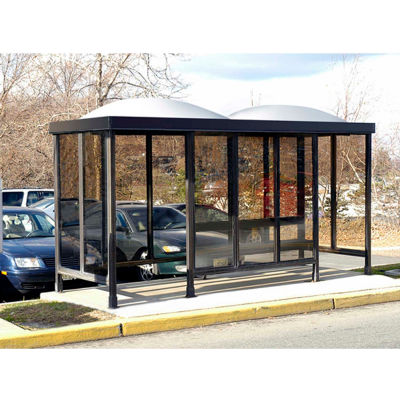 Smoking Shelter Dome Roof Four Sided With Left And Right Front Opening 15' x 5'