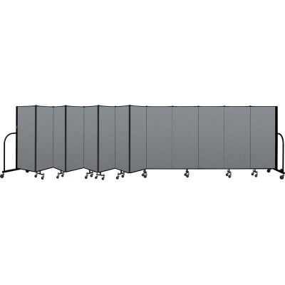 "Screenflex Portable Room Divider 13 Panel, 5'H x 24'1""L, Fabric Color: Gray"