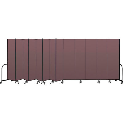 """Screenflex Portable Room Divider 13 Panel, 7'4""""H x 24'1""""L, Fabric Color: Mauve"""