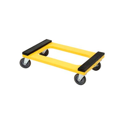"Global Industrial™ Plastic Dolly with Rubber Padded Deck 5"" Casters 1200 Lb. Capacity"