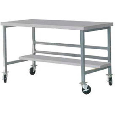 "Mobile 72"" X 36"" Plastic Top Workbench - Gray"