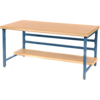 "Stationary 72"" X 36"" Shop Top Square Edge Workbench - Blue"