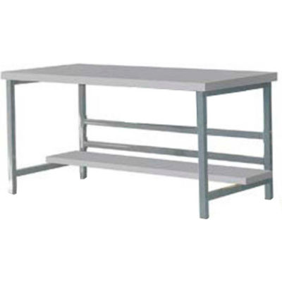 "Stationary 72"" X 30"" Plastic Laminate Square Edge Workbench - Gray"