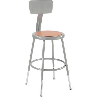 Interion® Steel Shop Stool w/Backrest and Hardboard Seat – Adjustable Height 18-27 - GRY - 2PK