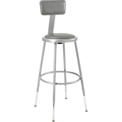 Interion® Steel Shop Stool w/Backrest and Padded Seat - Adjustable Height 24 - 32 - GRY - 2PK