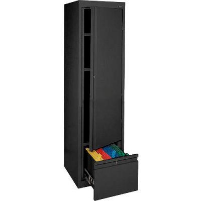 Sandusky System Series Storage Cabinet with File Drawer HADF171864 Single Door - 17x18x64, Black