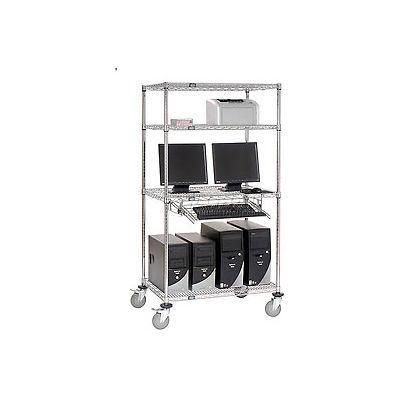 """Nexel™ 4-Shelf Mobile Wire Computer LAN Workstation w/Keyboard Tray, 36""""W x 24""""D x 69""""H, Chrome"""