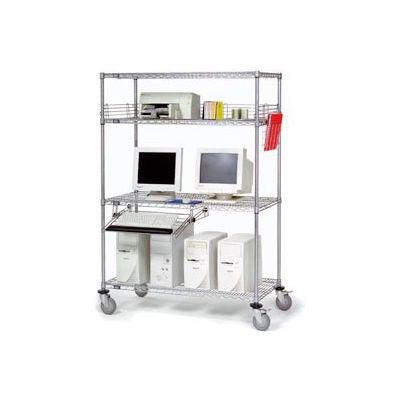 """Nexel™ 4-Shelf Mobile Wire Computer LAN Workstation w/Keyboard Tray, 60""""W x 24""""D x 69""""H, Chrome"""