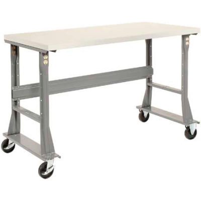 "60""W x 30""D Mobile Fixed Height C-Channel Flared Leg Workbench - ESD Safety Edge - Gray"