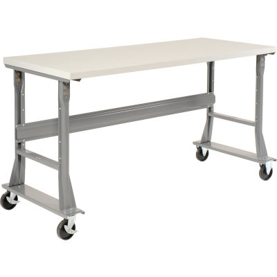 """72""""W x 30""""D Mobile Fixed Height C-Channel Flared Leg Workbench - ESD Safety Edge - Gray"""