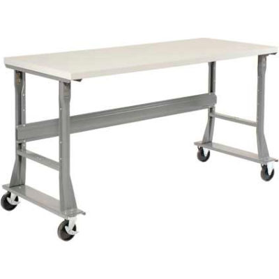 """72""""W x 36""""D Mobile Fixed Height C-Channel Flared Leg Workbench - ESD Safety Edge - Gray"""