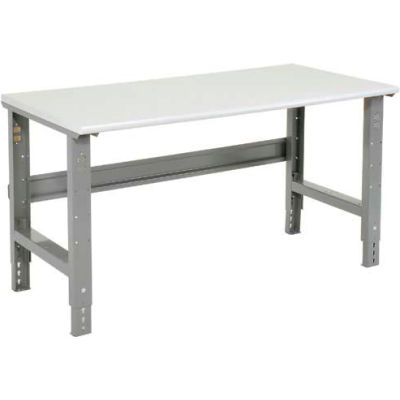"""60""""W x 30""""D Adjustable Height Workbench C-Channel Leg - ESD Plastic Safety Edge - Gray"""