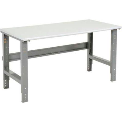 "72""W x 30""D Adjustable Height Workbench C-Channel Leg - ESD Plastic Safety Edge - Gray"