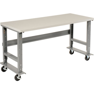 "72""W x 30""D Mobile Adjustable Height C-Channel Leg Workbench - ESD Safety Edge - Gray"