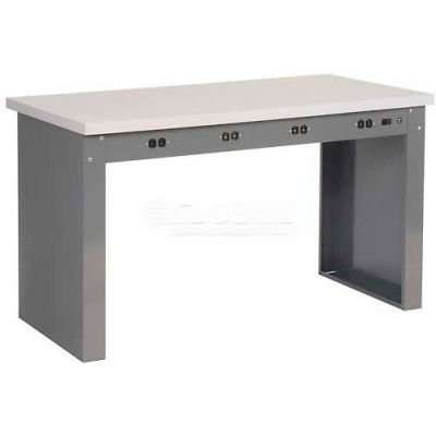 """60""""W x 30""""D Panel Leg Workbench With Power Apron and ESD Safety Edge Top"""