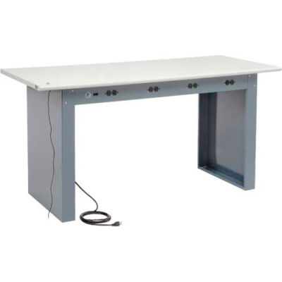 """72""""W x 30""""D Panel Leg Workbench With Power Apron and ESD Safety Edge Top"""