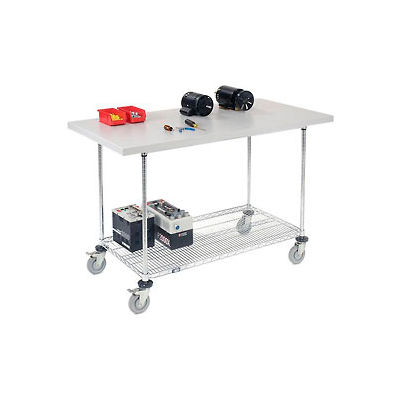 """60""""W x 30""""D Mobile Workbench with Wire Rack - Plastic Laminate Square Edge"""