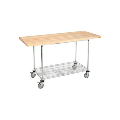 """72""""W x 30""""D Mobile Workbench with Wire Rack - Maple Butcher Block Square Edge"""