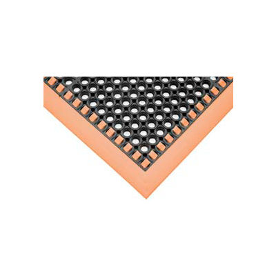 """SafetyTruTred™ Hi-Vis Drainage Mat, 3-Sided Border, 7/8"""" Thick, 26""""x40"""", Black/Orange"""