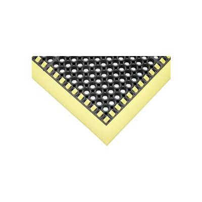 "SafetyTruTred™ Hi-Vis Drainage Mat, 3-Sided Border, 7/8"" Thick, 38""x40"", Black/Yellow"