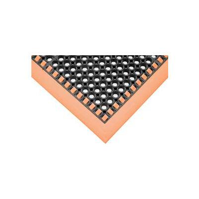 """SafetyTruTred™ Hi-Vis Drainage Mat, 3-Sided Border, 7/8"""" Thick, 38""""x64"""", Black/Orange"""