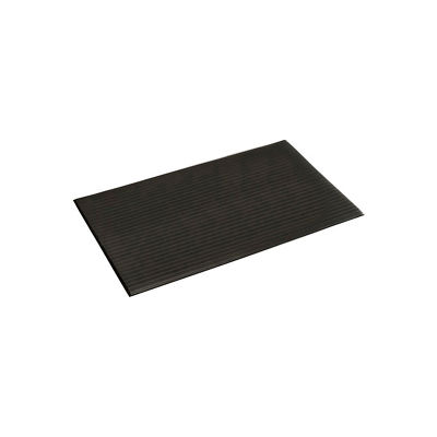 """Ribbed Surface Mat 3/8""""Thick 2'W Cut Length 1 ft Up To 60 Ft, Black"""
