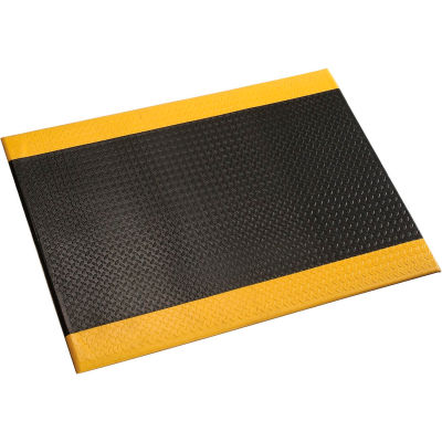 """Diamond Plate Mat, 1/2"""" Thick 48""""W Cut Length 1Ft Up To 60Ft, Black/Yellow Border"""
