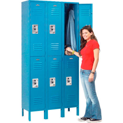 Infinity™ Locker Double Tier 12x12x36 6 Door Ready To Assemble Blue
